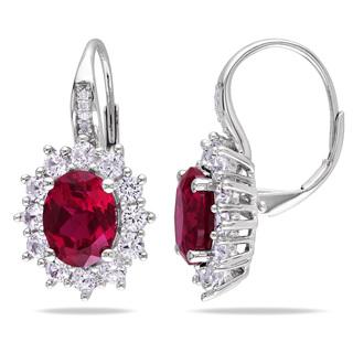 Silver-Diamond-Ruby-Earrings